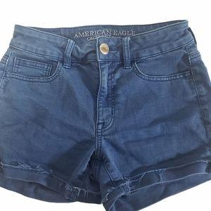 American Eagle High Rise Shortie Blue Shorts